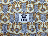 Geometric TIE Richel Royal Motif Crest Heraldry Silk Men Necktie 23
