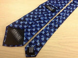 LOUIS FERAUD Silk Tie - Black with Blue Jumping Giraffe Pattern 39