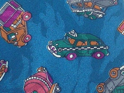 Classical Tie Augelo Litrico Colored Cars on Blue Silk Men NeckTie 46