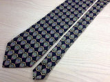 CHRISTIAN DIOR Silk Tie - Navy with Gold & Blue Fan Pattern 35