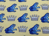 ITALIAN Silk Tie - Yellow with Blue Frog Prince Pattern - Charming   34