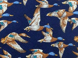 BEAUFORT Silk Tie - Navy with Mallard Pattern 36