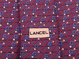 Pattern Tie Lancel Diagonal Red Strips pieces on Burgundy Silk Men NeckTie 44
