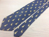BEAUFORT Italian Silk Tie - Blue/Gray with Giraffe Pattern 38
