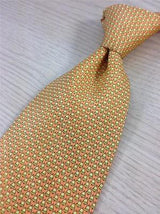 Pierre Balmain TIE Golden Bells on Peach Theme Repeat Novelty Silk Necktie 19
