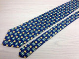 Designer Tie Longchamp Star Pattern On Blue Silk Men Necktie 42