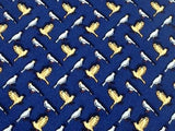 Animal Tie Giofer White & Yellow Dove on Blue Silk Men NeckTie 30