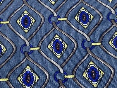 Designer Tie Pierre Balmain Blue Flowers On Dark Grey Silk Men Necktie 43
