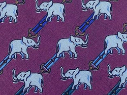 Animal Print TIE ELEPHANT STRIPE ON PURPLE Silk Men Necktie 26