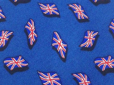 Designer Tie Fox & Chave England Flag on Blue Silk Men NeckTie 49