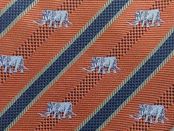 Animal Print TIE Embroidered Elephant Orange Stripe Thai Silk Men Necktie 20
