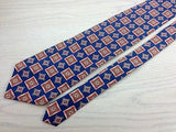 Designer Tie Burberrys Multicolered Squar Pattern on Blue Silk Men Necktie 32