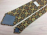 Designer Tie City Time Lion and Boxed Design on Brown Silk Men Necktie 32