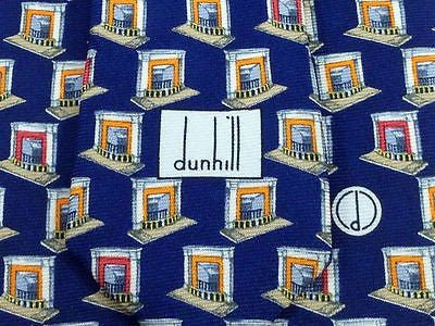 DUNHILL English Silk Tie - Blue with Fireplace Pattern - Elegant, Classic 33