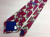 RENAISSANCE Polyester Handmade Tie - Dark Red with Duck Pattern 36