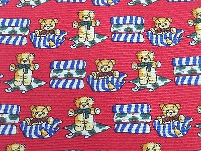 CITY LOOK Silk tie - Red with Colorful Teddy Bear Pattern 38