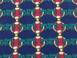 Designer Tie Lancel Red Rings And Bars on Sapphire & Blue Silk Men Necktie 48