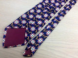 Silk Tie - Equestrian Pattern w Red-White-Blue Plaid 27