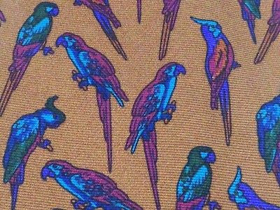 MARVIN BROWN Dallas English Silk Tie - Brown with Blue/Red Parrot Pattern 27
