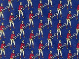 Tennis Badminton TIE on Blue Sport Novelty Theme Repeat Silk Necktie 2
