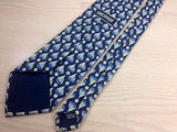 MARC ANTHONY Handmade French Silk Tie - Blue with Sailboats Pattern 37
