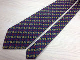 ALLEANZA ASSICURAZIONI Italian Silk Tie - Navy with Red & Yellow Butterflies 34