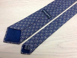 Designer Tie Charles Jourdan Repeated Pattern on Blue Silk Men NeckTie 44