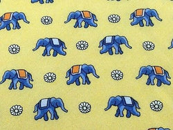 Animal Tie Blue Elephant with Flowers on Yellow Silk Men NeckTie 46