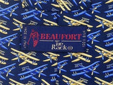 Beaufort TIE Rack Plane Pilot Aviator on Blue Repeat Novelty Silk Necktie 19
