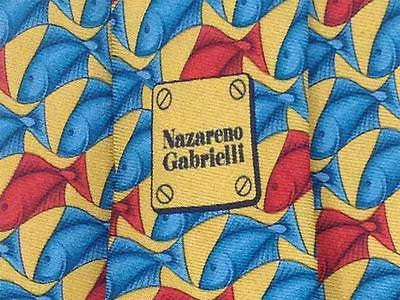 Nazareno Gabrielli TIE - Fish Water Animal Novelty Repeat Theme Silk Necktie 20