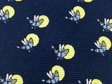 KIROS Italian Silk Tie - Dark Navy with Yellow Lightning Bugs Pattern 27
