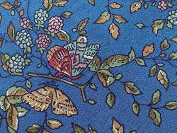 Designer Tie Allen Milano Leavs & Butterfly on Blue Silk Men Necktie 45