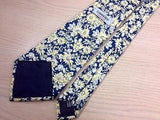 CAMAIEU Hand Made Silk Tie - Navy with Yellow & Ivory Floral Patten 35
