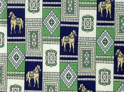 Horse TIE Geometric Check Green Animal Novelty Theme Repeat Silk Necktie 2