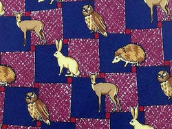 Animal Print TIE FOREST ANIMAL OWL RABBIT PORCUPINE DEER  Silk Men Necktie 26