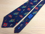 AUSTIN REED English Silk Tie - Navy Blue with Multi-Colored Circus Pattern 33