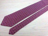 Designer Tie Lanvin White Embroidary on Deep Red Silk Men Necktie 32