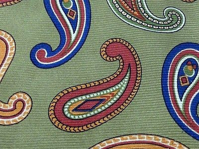 Designer Tie Paul Stewart Colorfull Pattern on Olive Green Silk Men Necktie 32
