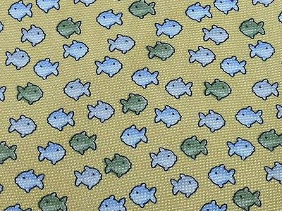 BEAUFORT Italian Silk Tie - Yellow with Tiny Fish Pattern 39