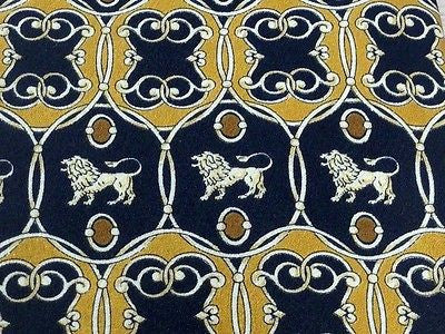 EUROSILK Italian Silk Tie - Black with Gold Regal Lions Pattern 27