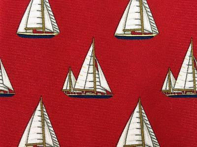 Classic Sailship TIE on Bright Red Repeat Novelty Silk Men Necktie 17