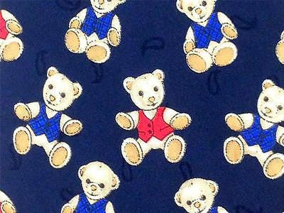 Edsor Kronen TIE Teddy Bear on Blue Animal Novelty Theme Repeat Silk Necktie 2