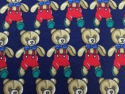 UMBERTO SCOLARI Silk Tie - Navy with Teddy Bears - Whimsicial and Elegant 33