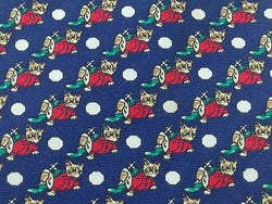 ANDREW'S TIES Italian Silk Tie - Blue with Whimsical Fox Pattern 37