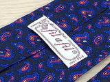 FIL A FIL French Silk Tie - Hand Made - Black with Blue & Red Paisley 41