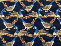 Novelty Tie Vanzella Blue Ducks on Dark Grey Silk Men NeckTie 49