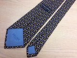 CELINE Paris Silk Tie - Made in Spain - Navy w Gold & Silver Buckle Pattern 36