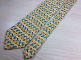 IL DAVID Handmade Italian Silk Tie - Yellow with Red & Blue Diamond Pattern 37