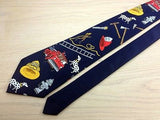 Designer Tie A. Rogers Fire Fighter and Dog on Dark Blue Silk Men NeckTie 44