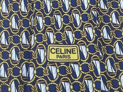 CELINE PARIS Silk Tie - Blue with Sailboat Pattern 40